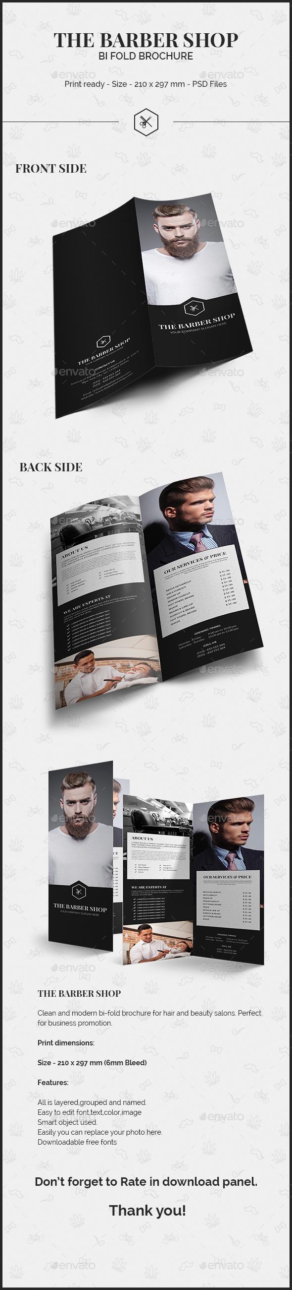 GraphicRiver The Barber Shop Bi Fold Brochure 10107686