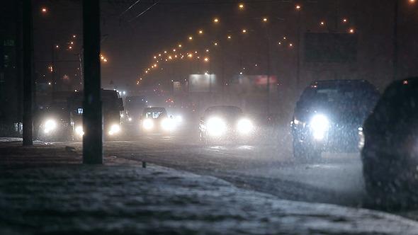 VideoHive Snowy Night Street Traffic 01 10135174