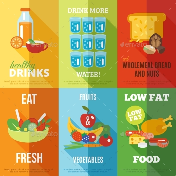 GraphicRiver Healthy Eating Poster Set 10135336