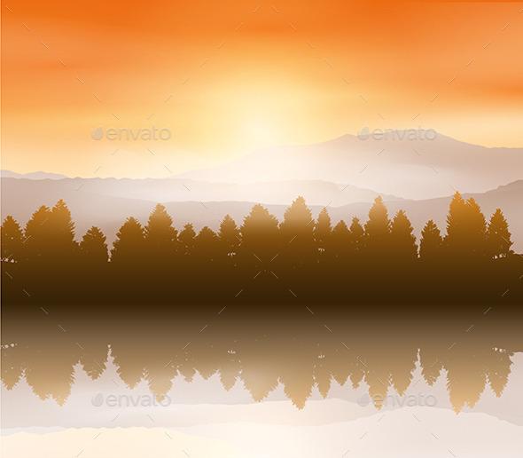 GraphicRiver Sunset Landscape 10135344