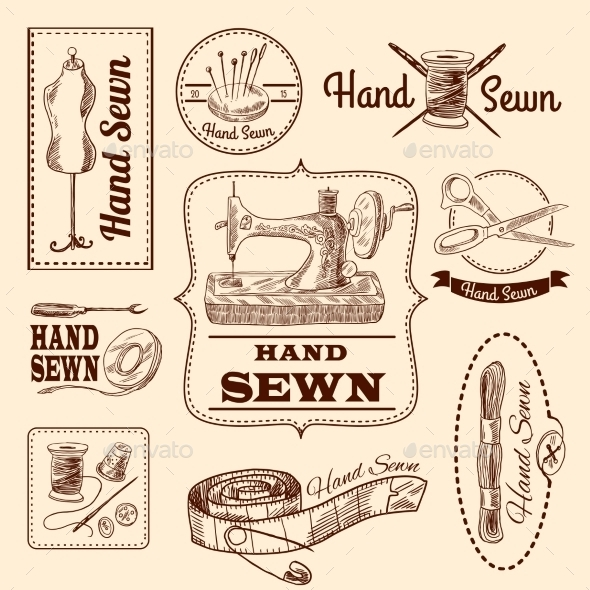 GraphicRiver Sewing Emblems Set 10135500