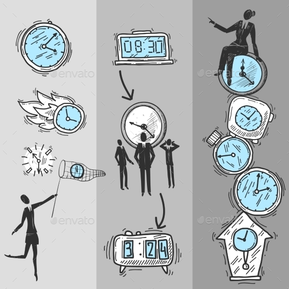 GraphicRiver Clock Banners Set 10135531