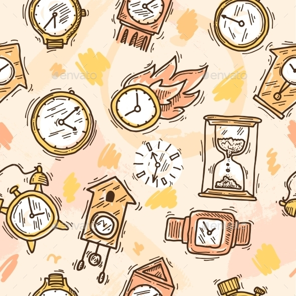 GraphicRiver Clock Seamless Pattern 10135538
