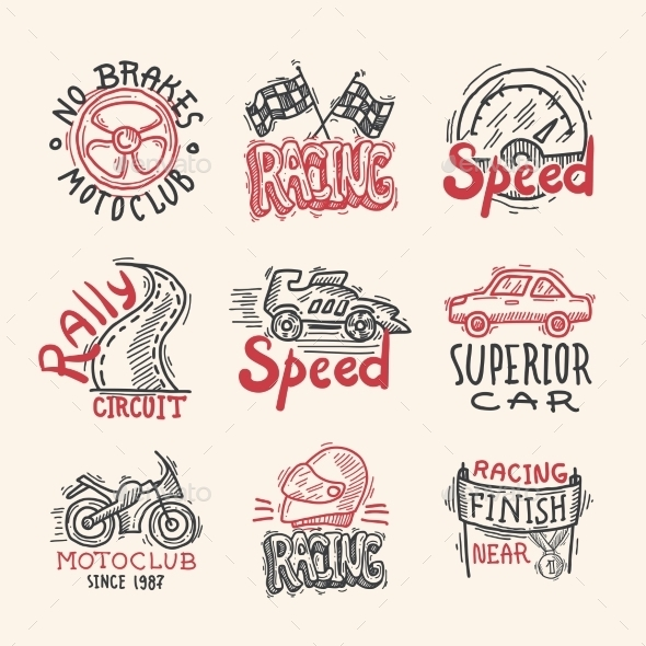 GraphicRiver Racing Emblems Set 10135610