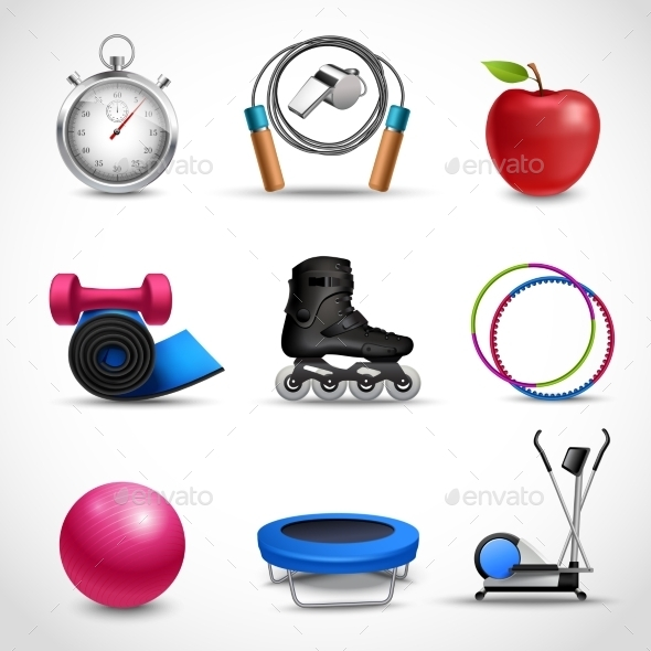 GraphicRiver Fitness Icons Set 10135647