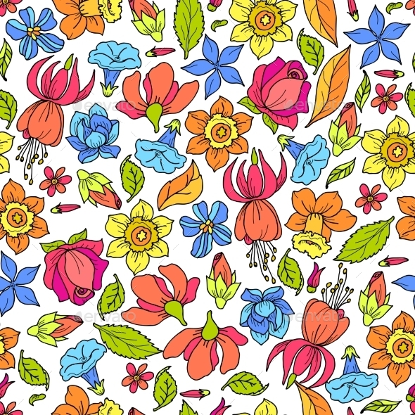 GraphicRiver Flowers Pattern Colored 10135663