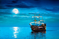 Moon and Pirate Ship - PhotoDune Item for Sale