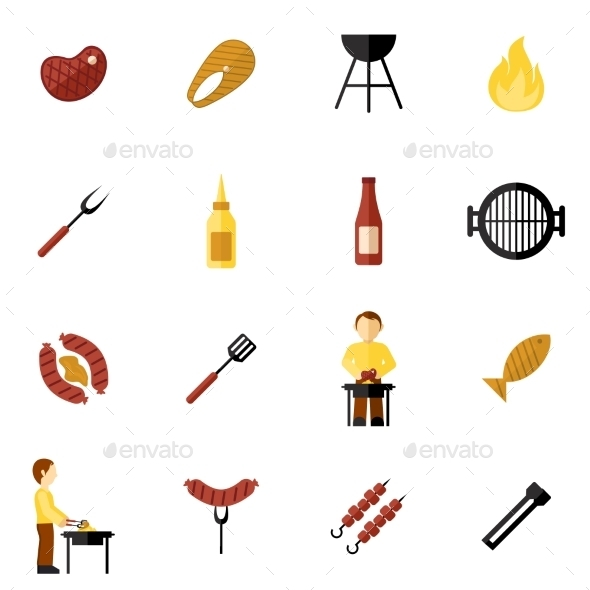 GraphicRiver Bbq Grill Icon Flat 10137892