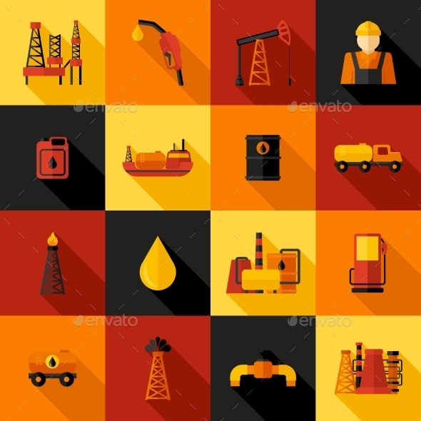 GraphicRiver Oil Industry Icons Flat 10137981