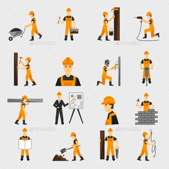 GraphicRiver Construction Worker Icons 10138025