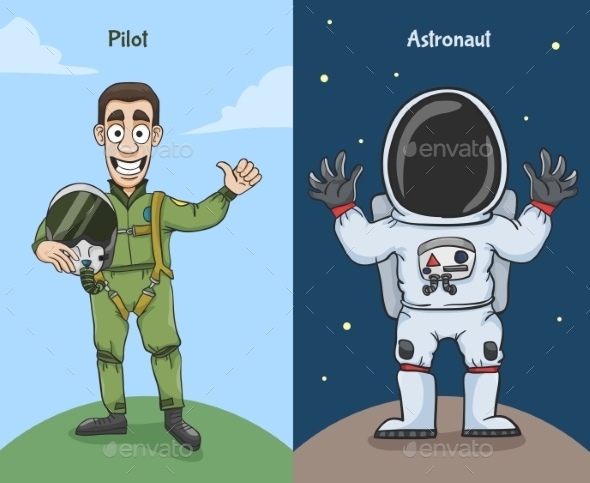 GraphicRiver Astronaut and Pilot Characters 10138053