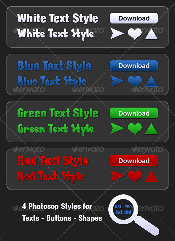GraphicRiver 4 Photoshop Styles for Texts Buttons and Shapes 42379