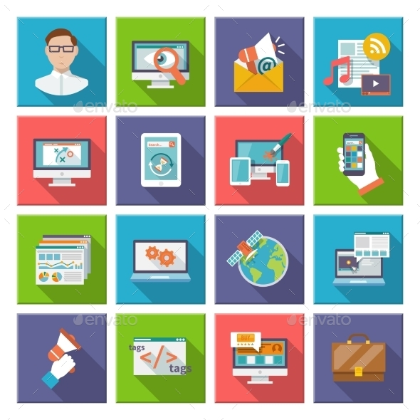 GraphicRiver Seo Internet Marketing Flat Icon 10138126