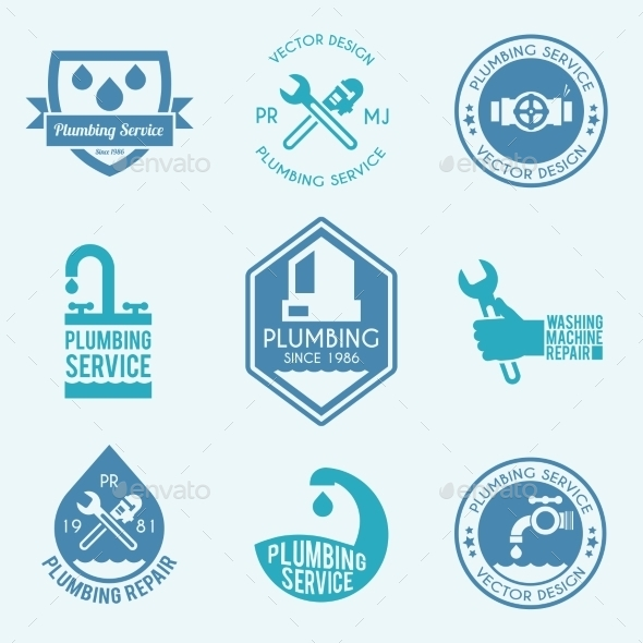 GraphicRiver Plumbing Labels Icons Set 10138311