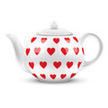 White ceramic teapot with hearts texture. - PhotoDune Item for Sale