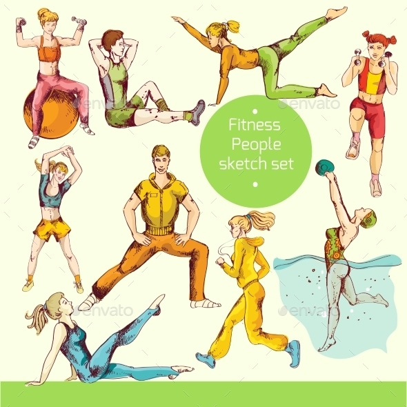 GraphicRiver Fitness Sketch Colored 10138447