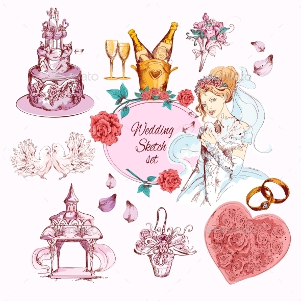 GraphicRiver Wedding Sketch Colored 10138529