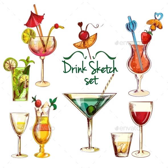 GraphicRiver Sketch Cocktail Set 10138624