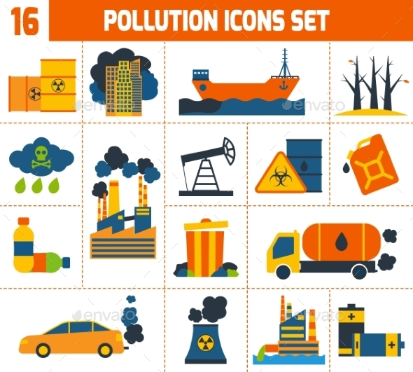 GraphicRiver Pollution Icons Set 10138636