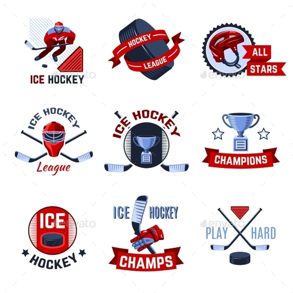 GraphicRiver Hockey Emblems Set 10138725
