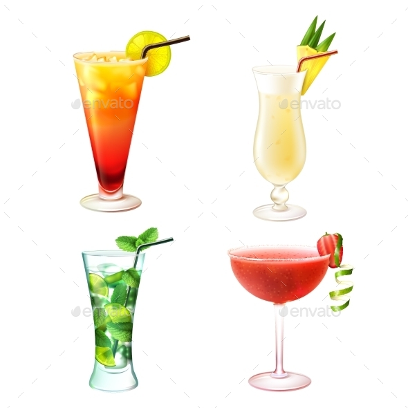 GraphicRiver Cocktail Realistic Set 10139264