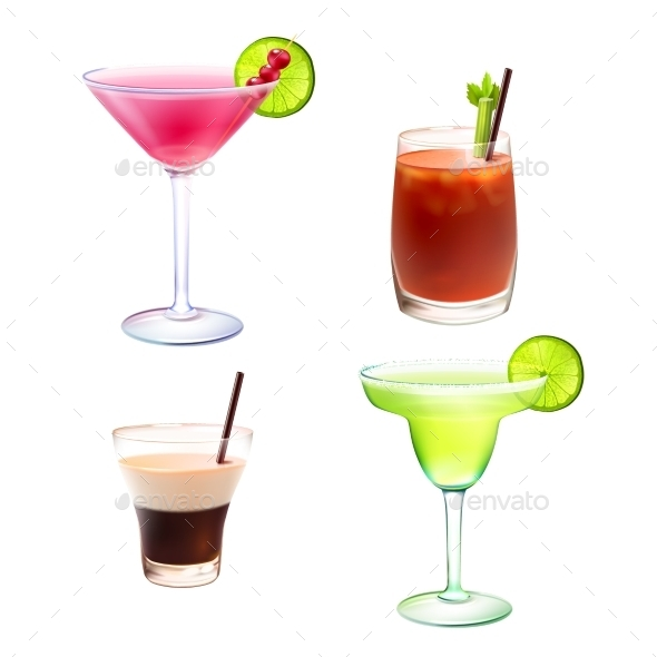 GraphicRiver Cocktail Realistic Set 10139300