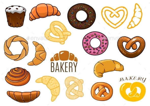 GraphicRiver Outlined and Cartoon Bakery Items 10140204