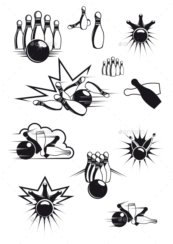 GraphicRiver Black and White Comic Bowling Balls and Pins 10140227