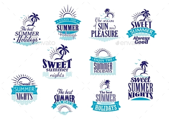 GraphicRiver Summer Holidays and Vacation Emblems 10140242