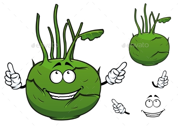 GraphicRiver Fresh Vegetable Kohlrabi Cabbage Cartoon 10140321