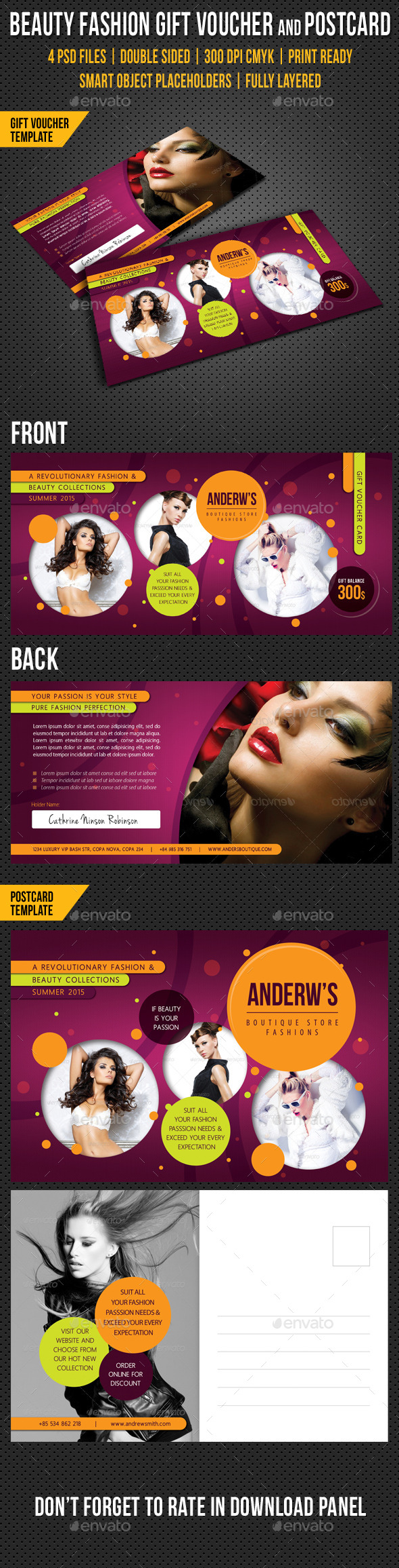 Beauty Fashion Gift Voucher and Postcard V03
