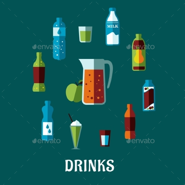GraphicRiver Flat Non Alcoholic Beverages 10140336