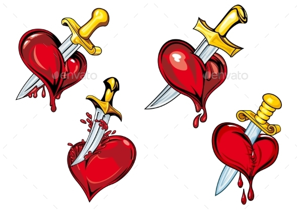 GraphicRiver Cartoon Hearts with Dagger 10140372