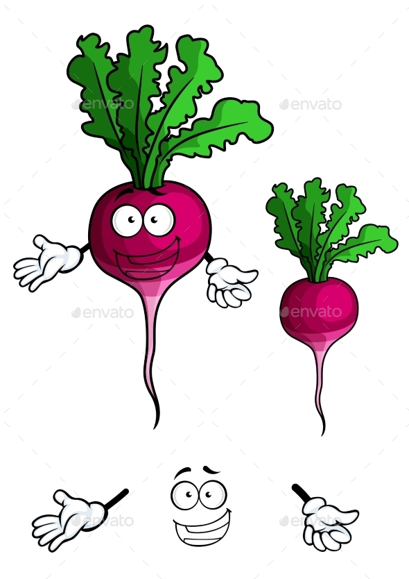 GraphicRiver Smiling Beet Vegetable in Cartoon Style 10140388