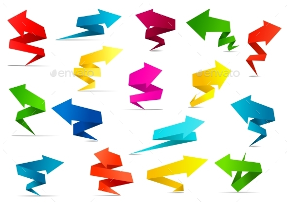 GraphicRiver Twisted Arrow Banners in Origami Style 10140445