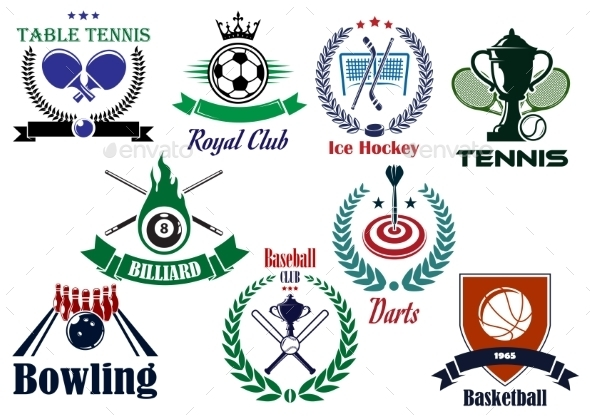 Competitive Team Sports Heraldic Emblems