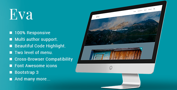 ThemeForest Eva Responsive Minimal Ghost Theme 10140477