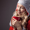 Beautiful Blonde Woman With An Aromatic Hot Coffee In Hands. - PhotoDune Item for Sale