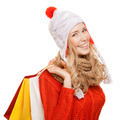 Happy Woman Holding Shopping  Bags. Winter Sales. Isolated. - PhotoDune Item for Sale