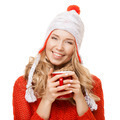 Beautiful Blonde Woman With An Aromatic Hot Coffee In Hands. Isolated. - PhotoDune Item for Sale