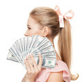 Young Happy Woman With Dollars In Hand. Isolated On White Background. - PhotoDune Item for Sale