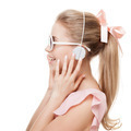 Girl With Headphones On The White Background. Isolated. - PhotoDune Item for Sale