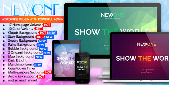 CodeCanyon Newone Responsive Coming Soon WP Plugin 10086316