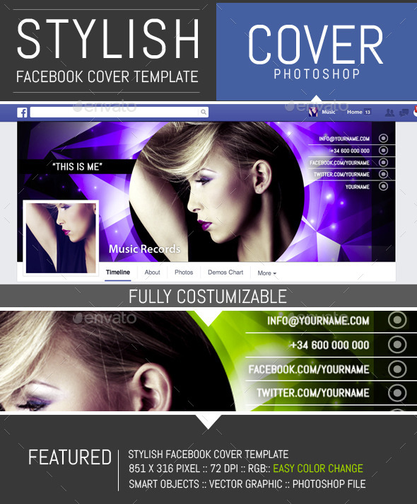 GraphicRiver Shiny Dj and Musician Facebook Cover Template 10141440
