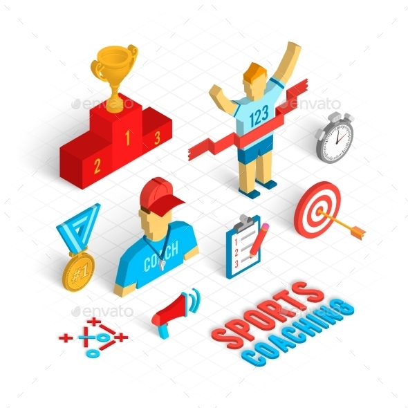 GraphicRiver Sport Coaching Isometric Set 10141619