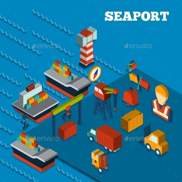 GraphicRiver Seaport Isometric Set 10141628