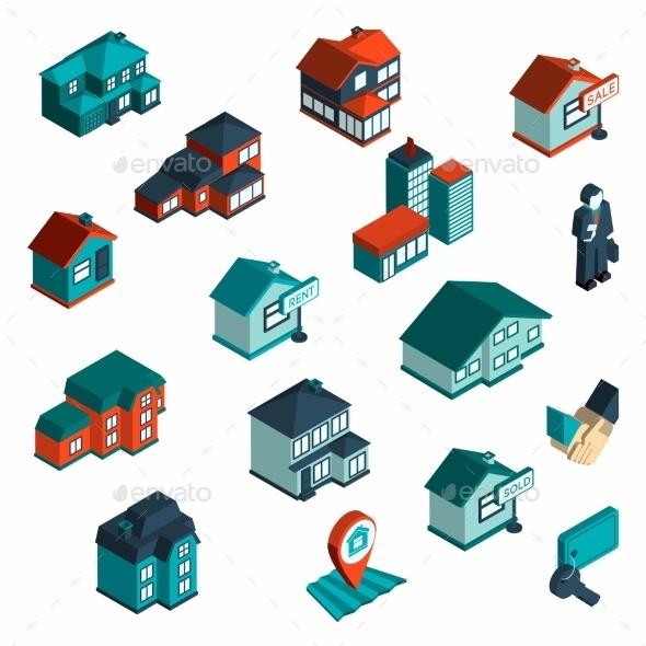 GraphicRiver Real Estate Icon Isometric 10141634