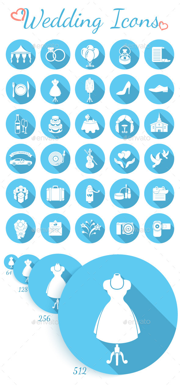 GraphicRiver Round Flat Wedding Icons 10141645