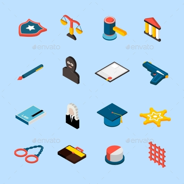 GraphicRiver Law Icons Isometric 10141671