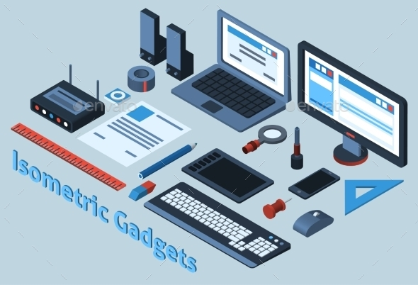 GraphicRiver Isometric Gadgets Set 10141676